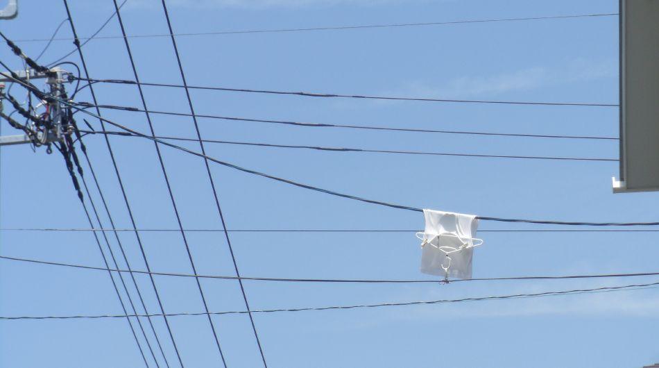 電線に洗濯物が
